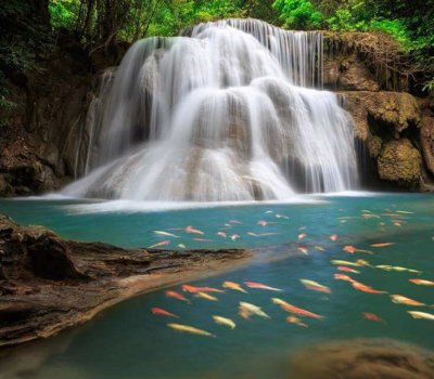 The Huai Mae Khamin Waterfall is one of the most popular places in Kanchanaburi. THAILAND